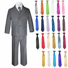 6pc Boys Kid Teen Formal Wedding Party Tuxedo Dark Gray Suit a Free Necktie Set