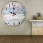 Country Theme Wood Wall Clock Look Old Vintage Hanging Shabby Round Home Decor