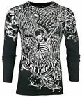 Xtreme Couture by AFFLICTION Mens THERMAL T-Shirt ACCUSER Skull Biker MMA GYM$58 image