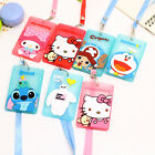 Cute Silicone ID Card Holder Card Pocket Case Badge Necklace Neck Strap Lanyard