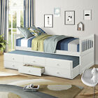 Twin Size Solid Wood Captain Bed with Trundle and Drawers For Kids' Bedroom