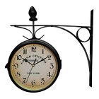 Wall Clock Double Sided Mount Hanging Garden Battery Powered Decoration Retro