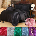 Silk Satin Cover Silky Fitted Sheet Soft Pillow Cases Bedspread Bedding Set 4pcs image