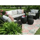 5/6 Pcs Outdoor Furniture Rattan Wicker Sofa Patio Couch Set With Cushion Black