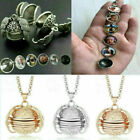 Expanding 5 Photo Locket Necklace Ball Angel Wing Pendant Memorial Gift Jewelry