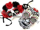 Red Day of the Dead Sugar Skull Skeleton Flower Mask Pair Costume Party Wear