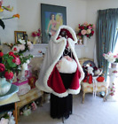 US Christmas Red Velvet Santa Claus Deluxe Cloak Cape With White Fluffy Trim