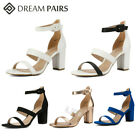 DREAM PAIRS Women  s Chunky Heel Sandals Ankle Strap Open Toe Pump Dress Shoes
