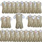 Baby Boys  Toddler Formal 6pc Khaki Vest Shorts Suits Extra Necktie Outfit