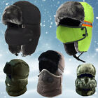 Winter Bomber Trapper Hats Face Mask Fur Warm Aviator Russian Trooper Ski Caps