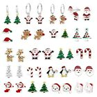 925 Sterling Silver Crystal Christmas Santa Tree Rudolph Reindeer Candy Earrings
