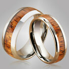 Pair Of Koa Wood Tungsten Ring Dome Shape 6mm/8mm image