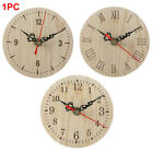 Small Quiet Wooden Round Vintage Style Retro Numerals Quartz Wall Clock Bedroom