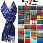Winter Unisex 100 Cashmere Plaid Scotland Made Solid Striped Scarves Wool Scarf
