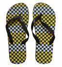AMERICAN BREED MEN'S FLIP FLOPS SYNTHETIC SANDAL CHECKERED YELLOW BLACK S 10/11
