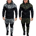 Men Classic Camouflage Sports Suit Tracksuit Zipper Sweatshirt Hoodies Top Pants