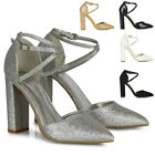 Womens Strappy Ankle Strap Shoes Ladies Pointed Toe Block High Heel Party Size