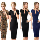 Womens V Neck Floral Lace Print Solid Work Business Cocktail Party Bodycon Dress