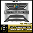 2019-20 UPPER DECK BUYBACKS HOCKEY 5 BOX FULL CASE BREAK #H581 - PICK YOUR TEAM $16.0 CAD on eBay