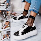 Fashion Women Ladys Platform Trainers Lace up Sneakers Comfy Casual Thick Bottom