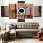 Coffee Cup Bean 5 Piece Panel Canvas Wall Hanging Home Decor Cafe Barista Art