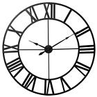 Large Roman Numeral Wall Clock Indoor Outdoor Retro Vintage Round Open Face Mute