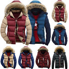Men Padded Fur Hooded Parka Coat Winter Warm Puffer Quilted Down Jacket Outwear