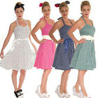 HALTER NECK POLKA DOT SWING DRESS  50's VINTAGE ROCKABILLY ALTERNATIVE