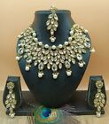 Indian Bridal Choker Bollywood Necklace Earrings Tikka Jewelry Set Pearl