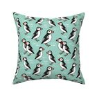 Puffin Fish Bird Puffins Mint Throw Pillow Cover w Optional Insert by Roostery