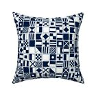 Sailing Sailboat Flag Navy Throw Pillow Cover w Optional Insert by Roostery