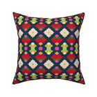 Talulah Circles Navy Blue Retro Throw Pillow Cover w Optional Insert by Roostery