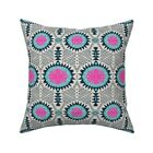 Tribal Geometric Pink Blue Throw Pillow Cover w Optional Insert by Roostery