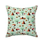 Camper Mint Orange Woodland Throw Pillow Cover w Optional Insert by Roostery