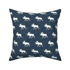 Moose Textured Woodland Nursery Throw Pillow Cover w Optional Insert by Roostery
