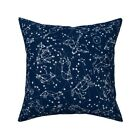 Navy Galaxy Stars Space Nursery Throw Pillow Cover w Optional Insert by Roostery