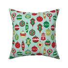 Retro Christmas Ornaments // Throw Pillow Cover w Optional Insert by Roostery