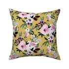 Roses On Mustard Flowers Floral Throw Pillow Cover w Optional Insert by Roostery