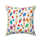 Ice Cream  Food Watercolor Throw Pillow Cover w Optional Insert by Roostery