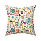Mod Flowers Flower Floral Throw Pillow Cover w Optional Insert by Roostery