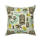 Tiki Tropical Paradise Green Throw Pillow Cover w Optional Insert by Roostery