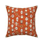 Coffee Autumn Fall Donuts Throw Pillow Cover w Optional Insert by Roostery