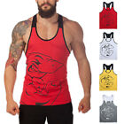 Men Tank Top T-Shirt Muscle Patchwork Tee Sports Fitness Gym Funny Printed Vests image