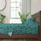 Mandala Lace Geometric Floral Snowflake 100% Cotton Sateen Sheet Set by Roostery image