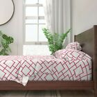 Pink Bamboo Geometric 100% Cotton Sateen Sheet Set by Roostery image