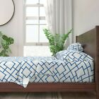 Blue Bamboo Trellis And White 100% Cotton Sateen Sheet Set by Roostery image