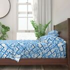 Bamboo Blue White Asian Trellis Lattice 100% Cotton Sateen Sheet Set by Roostery image