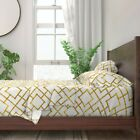 Bamboo Trellis Gold 100% Cotton Sateen Sheet Set by Roostery image