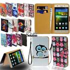 Flip Leather Card Wallet Stand Cover Phone Case For Huawei Smartphones + Strap