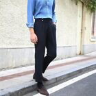 Men's High Waisted Straight Pants British style Long Trousers Business Leisure